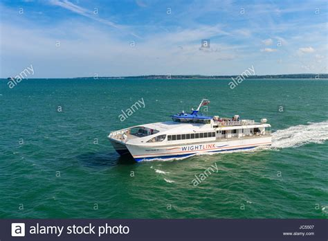 catamaran ferry to isle of wight isle wight ferry portsmouth stock photos isle wight