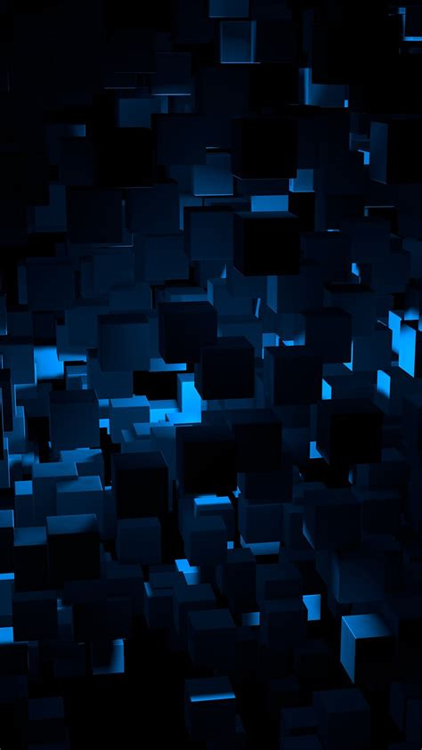 cube dark blue abstract pattern android wallpaper