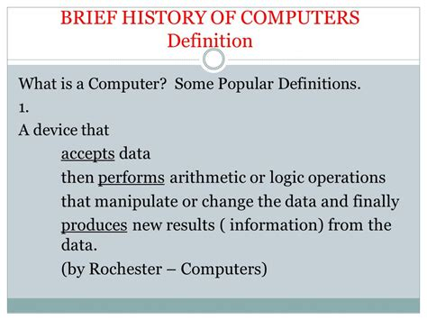 brief history of computer phas151 computer literacy i ppt