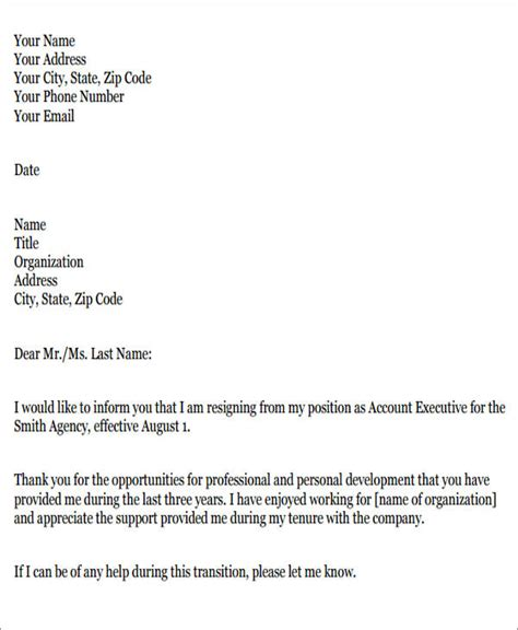 resignation letter in pdf sle work resignation letter 7 exles in pdf word