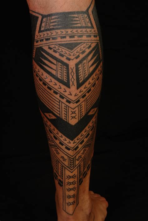 male leg tattoo designs shane tattoos polynesian calf