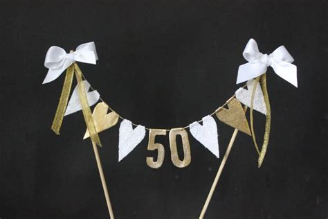 Bunting Flag Happy Anniversary White 50th golden wedding anniversary cake topper cake bunting