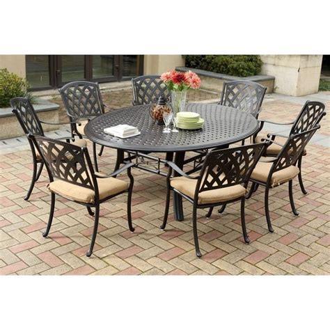 9 Pc Patio Dining Set Darlee View 9 Patio Dining Set In Antique Bronze 201630 9pc 99ld