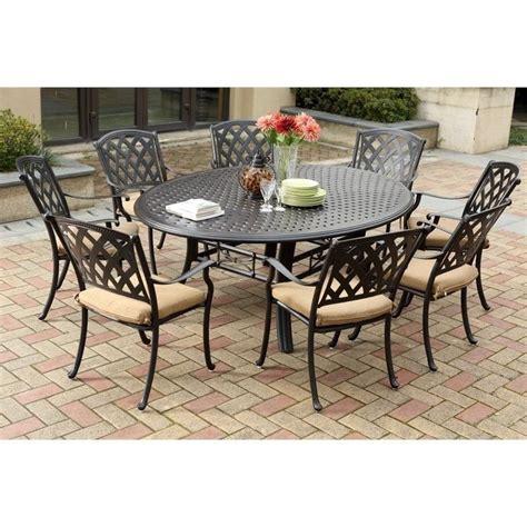 Darlee ocean view 9 piece round patio dining set in antique bronze 201630 9pc 99ld