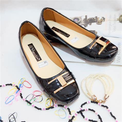 jual sepatu balet wanita flat shoes sintetis glossy tinggi