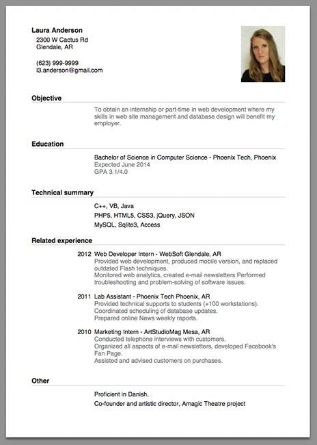 exle of resume for best resume gallery