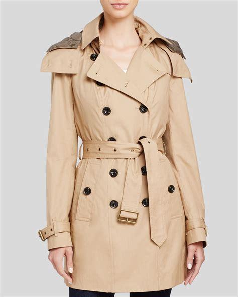 trench coat burberry brit reymoore hooded cotton trench coat in beige