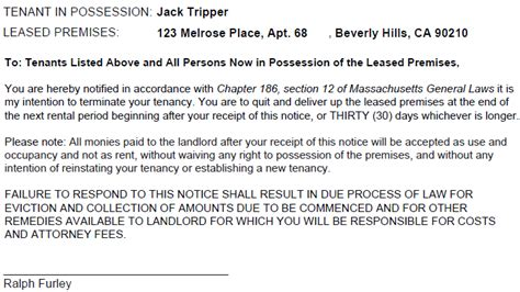 Eviction Tenant At Will Massachusetts Massachusetts 30 Day Notice To Quit Ez Landlord Forms