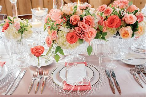 Flower Settings For Weddings by Coral Wedding Flower Place Setting Details Wedding Decor