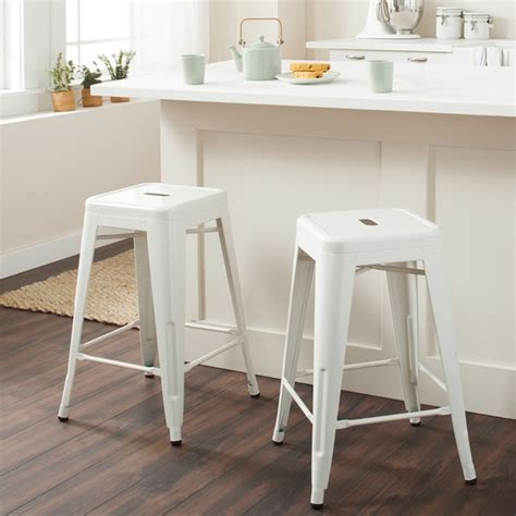 Tabouret 24 Inch White Metal Counter Stools Set Of 2 24 inch white stool tyres2c