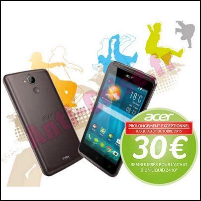 Anti Gores Acer Liquid Z410 offre de remboursement acer 30 sur smartphone liquid