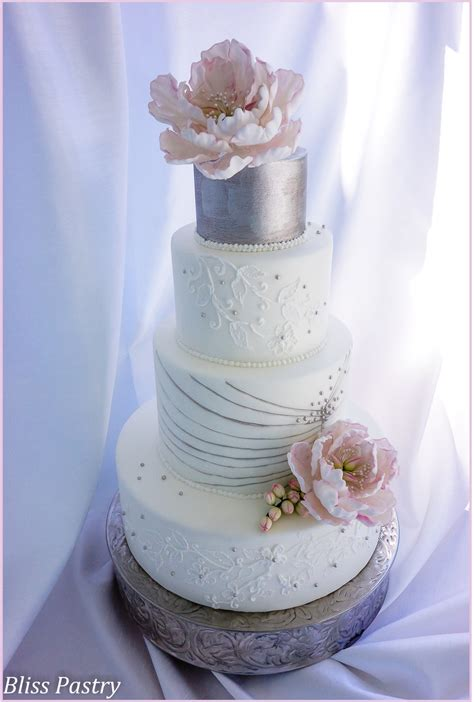 Silver White white and silver wedding cake cakecentral