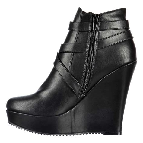 onlineshoe cut out chelsea ankle boot wedge heel black