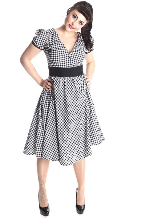 rockabilly swing kleid 50er rockabilly gingham retro karo swing kleid