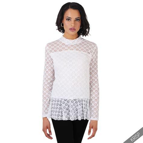 Baju Blouse Ruffle Sleeve Peplum womens vintage lace mesh peplum frill ruffle top sleeve blouse shirt ebay
