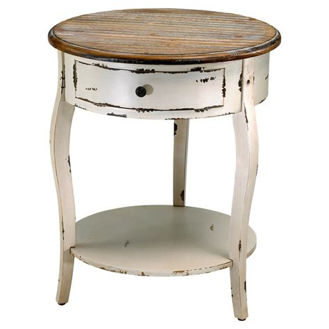 Wooden End Tables Olevi Rustic Ivory Wood End Table Kathy Kuo Home
