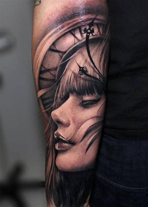 tattoo face with printer ink very pretty 3d clock and girl face tattoo ink spiration