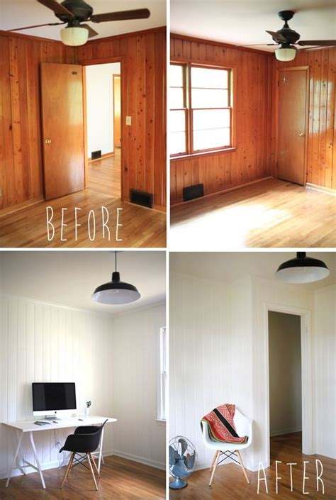 painted wood panelling before and after office panelling gives me and