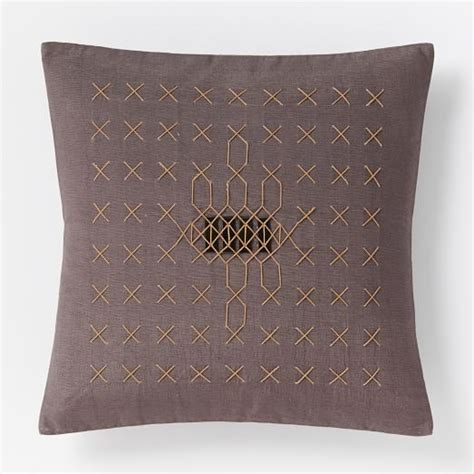 Horn Pillows by Carla Peters Stitched Allover Horn Pillow Cover West Elm