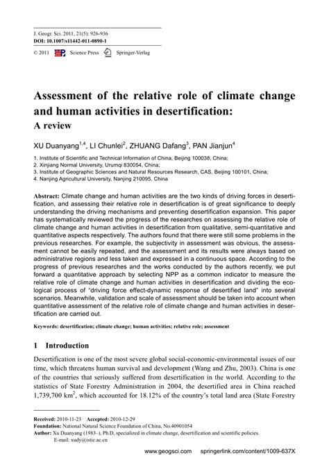 Desertification Essay by Assessment Of The Relative Of Climate Change And Human Activities In Desertification A