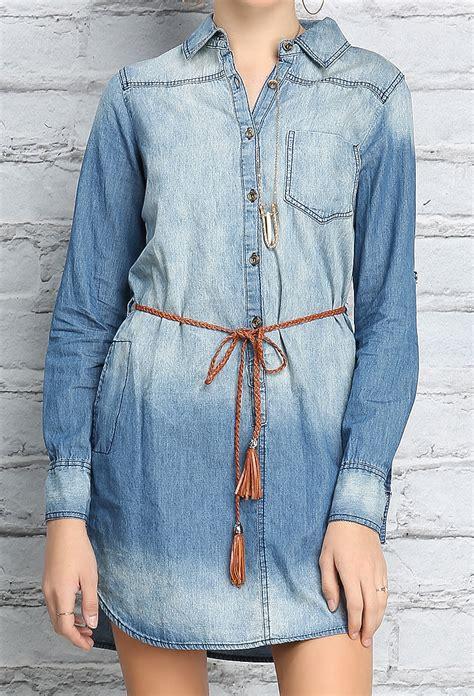 Id 1705 Denim Belted Dress belted denim shirt dress shop denim daze at papaya clothing