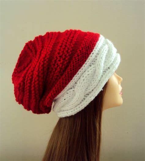 knit santa hat slouchy beanie hat santa hat knit winter hat