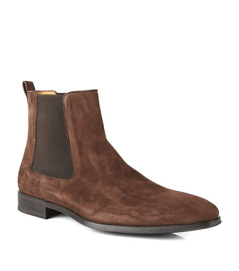 magnanni suede chelsea boot in brown for lyst