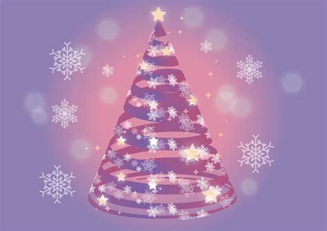 bm christmas クリスマスツリー 紫色 リボン 雪の結晶 イラスト 無料 イラストダウンロード