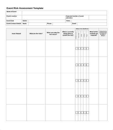 event risk management template risk assessment templates 9 word pdf documents