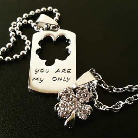 cadenas de oro para novios collar dijes trebol separable parejas enamorados