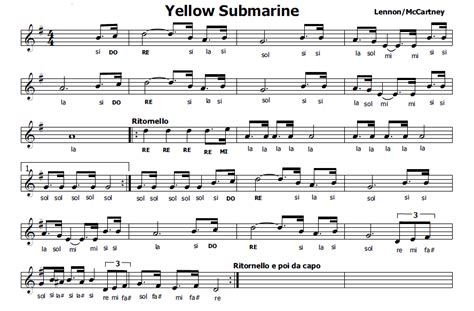 black and yellow testo musica e spartiti gratis per flauto dolce yellow submarine