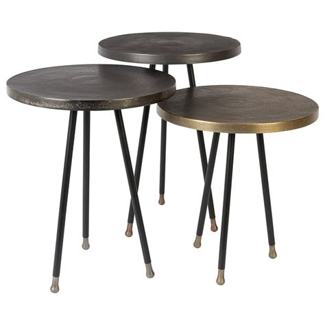 set of 3 tables alim set of 3 side tables in mixed metals home garden
