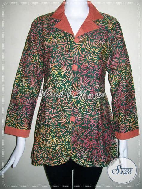 Gamis Batik Modern C 530 baju batik trendy warna hijau blus batik kerja wanita