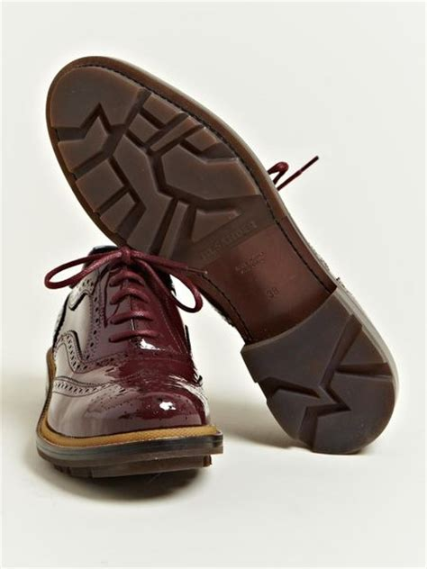 burgundy oxford shoes womens jil sander jil sander womens patent brogue oxford shoes in