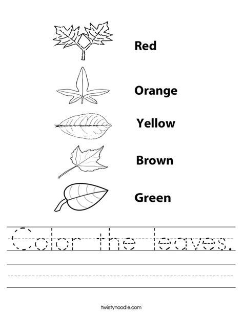 Color the leaves Worksheet   Twisty Noodle
