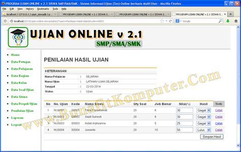 membuat web untuk ujian online software ujian online siswa bunafit komputer