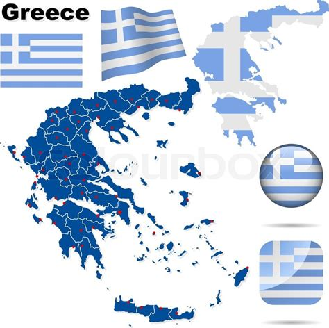 greece map vector greece vector set detailed country shape with region