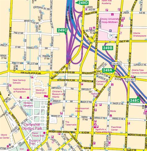 street map of downtown atlanta georgia atlanta metro area wall map