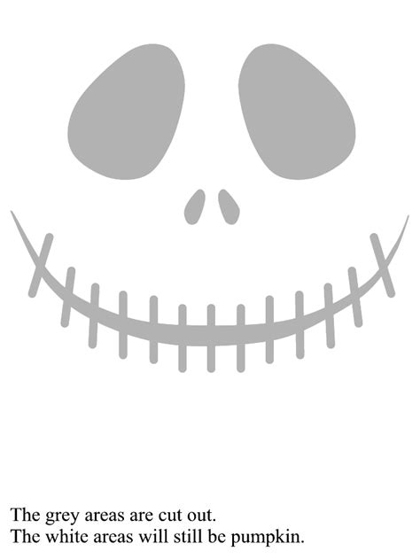 jack skellington face pumpkin carving template halloween