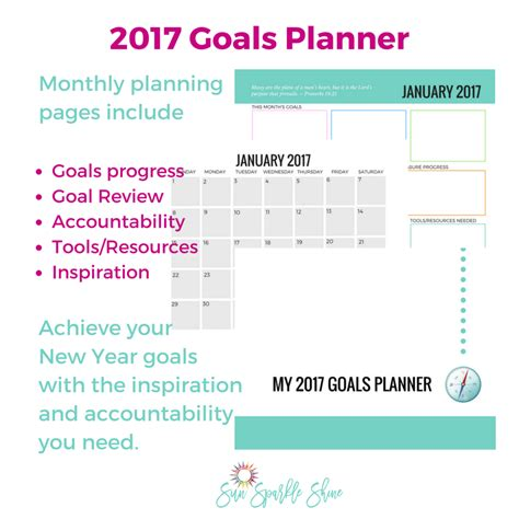 goal setting calendar template 2017 goals planner sunsparkleshine
