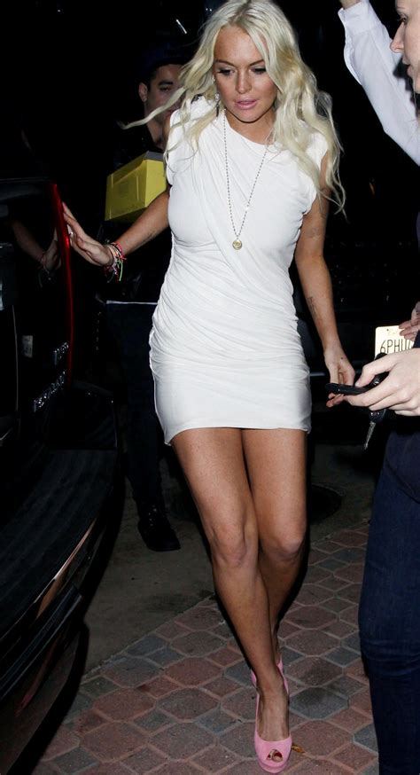 Lindsay Lohan In A White Dress lindsay lohan out in a white dress for birthday