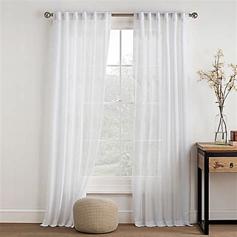 back tab sheer curtains buy logan 108 inch sheer ivory rod pocket back tab window