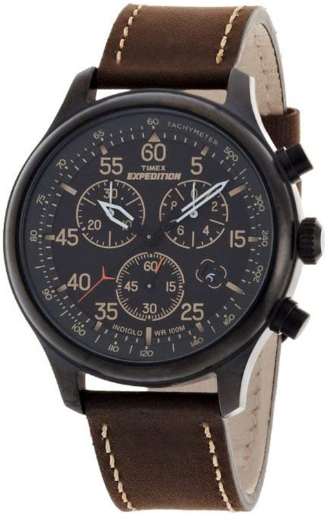 timex s t49905 expedition rugged field chronograph black brown leather