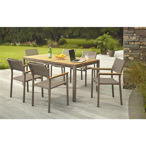 hton bay aluminum patio furniture hton bay barnsdale teak 7 patio dining set shop