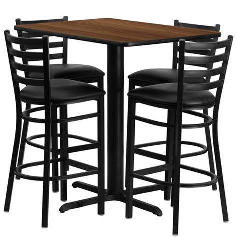 24 Table L by 24 Quot W X 42 Quot L Table Set With 4 Barstools Black Vinyl Seat