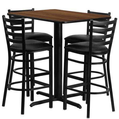24 quot w x 42 quot l table set with 4 barstools black vinyl seat