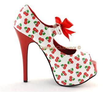 cherry high heels pinup burlesque retro rockabilly cherry high heels shoe ebay