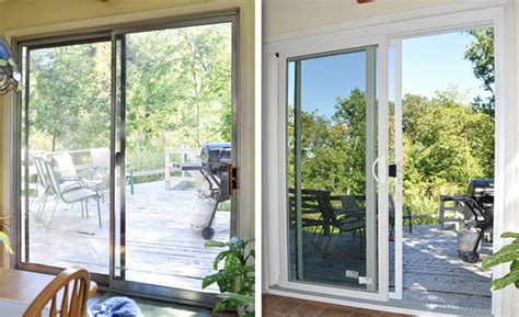 Drafty Sliding Glass Door Update Your Home With A New Sliding Glass Door Easy To Open And No Drafts Before After