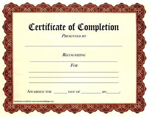 certificate of completion template free blank certificate of completion templates free