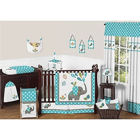 elephant nursery bedding sets crib bedding sets gt sweet jojo designs mod elephant 11 crib bedding set in turquoise white